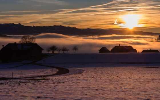 утро, закат, туман, поле, заставка, winter, айфон, небо, natural, дорогой, house