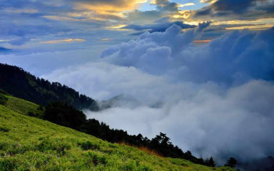 облака, холмы