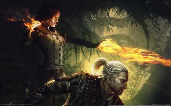 рисунок, сюжет, игра, эпизод, assassins, witcher, kings, магия, картинка, огонь,