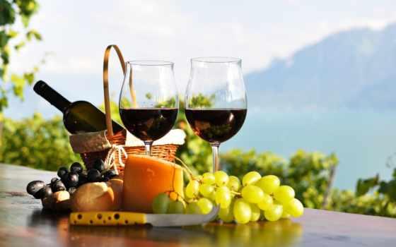вино, красное, бокалы