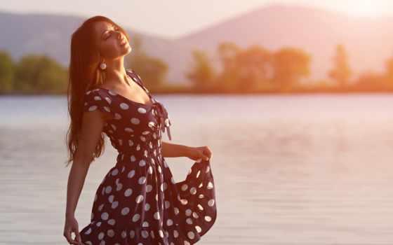 девушка, реки, солнца