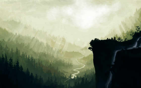 водопад, живопись, eti