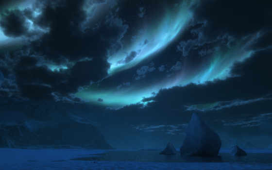 сияние, северное, ночь, снег,