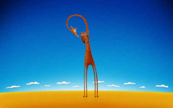 жираф, небо, blue, preview, cartoon, долгопят, tags, art, clouds,