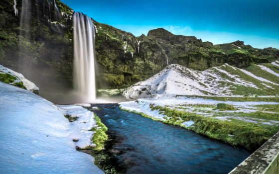 ecran, fonds, islande, остров, seljalandsfoss, eau, fond, qualité, neige, haute,