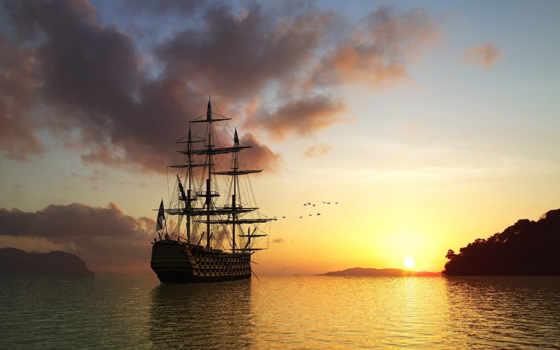 море, корабль, птицы, sun, rising, утро,