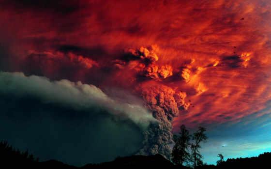 небо, вулкан, пепел, извержение, красное, trees, гора, природа,