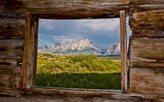 горы, окна, взгляд, природа, окно, изба, загружено,