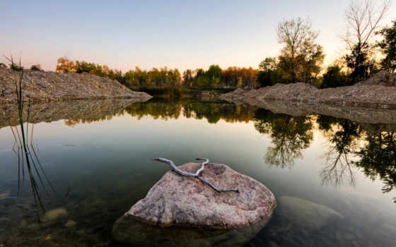 камень, камни, water, trees, река, пейзажи -, stick, природа,