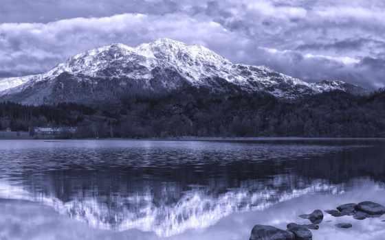 лес, venue, бен, achray, mountains, bw, white, you, скалы, море, шотландия