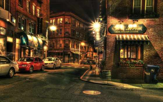 boston, hdr, ночь