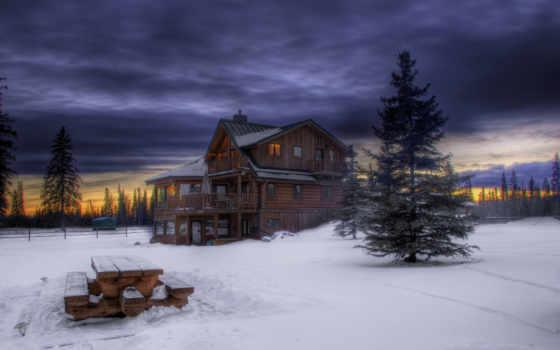 снег, winter, lodge, trees, лес, елки, вечер, небо, stage, wooden, сумерки,