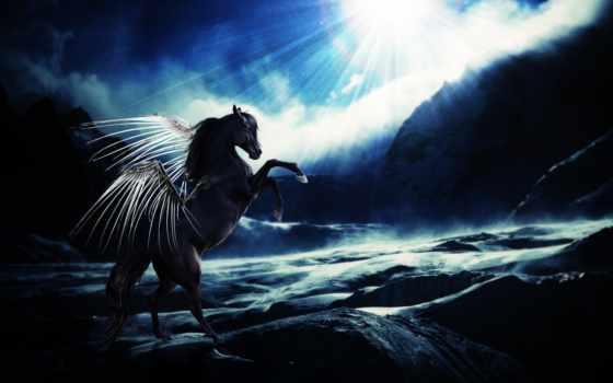 fantasy, красные, лошадь, свет, крылья, скалы, oblaka, волшебные, картинка, zhivotnye, sun,