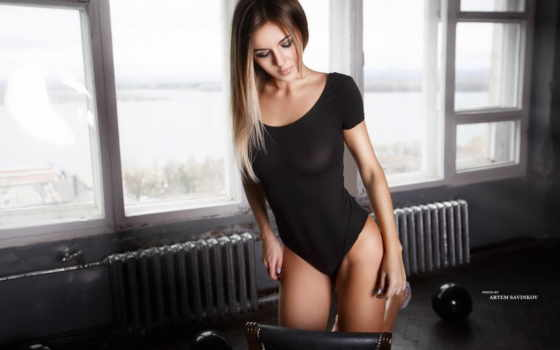 , черное белье, красивая грудь, спортзал