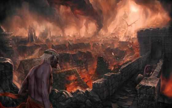 дракон, огонь, город, фантастика, pinterest, широкоформатные, turret, магия, дух,