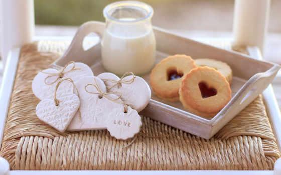 love, сердце, cookie, milk, сладкое, торт, печенье