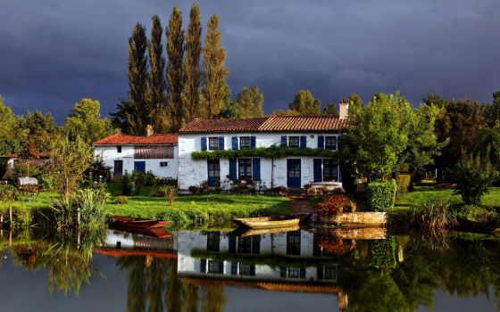 house, берегу, озера, reki, дома, строения, trees, банка,