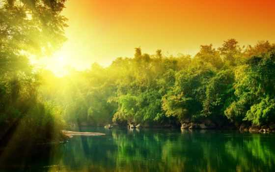 пейзажи -, красивые, рассвет, природы, солнца, landscape, rising, рекой, trees, со,