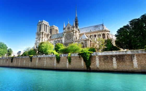 париж, notre, dame, cathedral, парижской, богоматери, нотр, бьет, франция, dam,