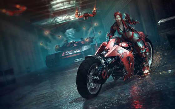 девушка, мотоцикл, art, искры, оружие, танк, фантастика, obreja, catalin, fantasy,
