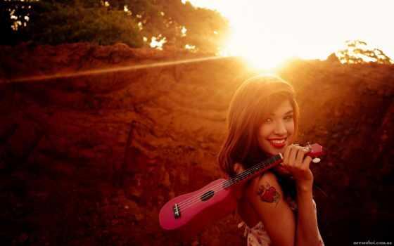 гитара, укулеле, солнце
