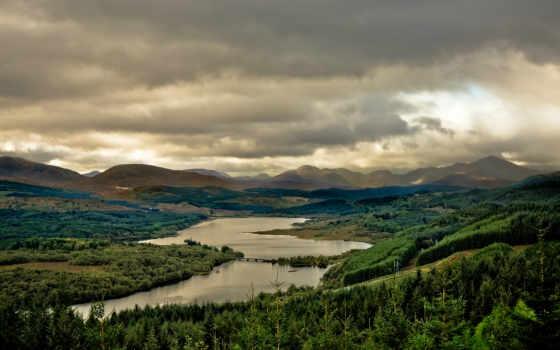 горы, шотландия, озеро