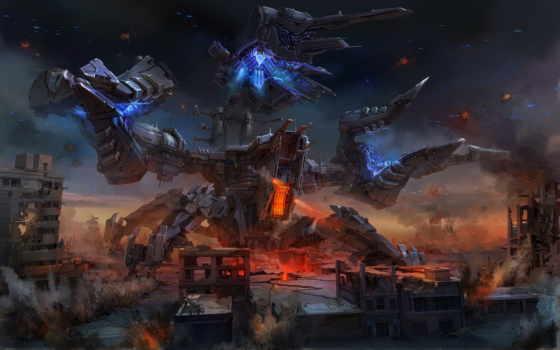 art, robot, fantasy, город, shots, меха, оружие,