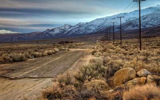 горы, дорога, поле, природа, гора, dirt, пейзажи -, landscape,