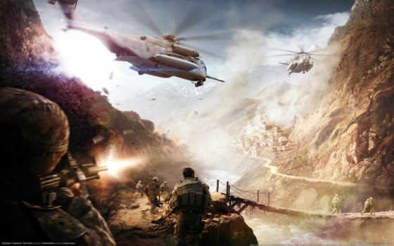 war, горы, shooting, река, red, flashpoint, digital, вертолеты, военные, мост,