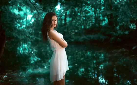 лес, девушка, karina, brunette, kasparyants, платье, free,