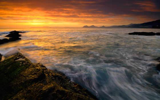 природа, море, закат, water, замёрзшая, камни, озеро, замёрзшее, река,