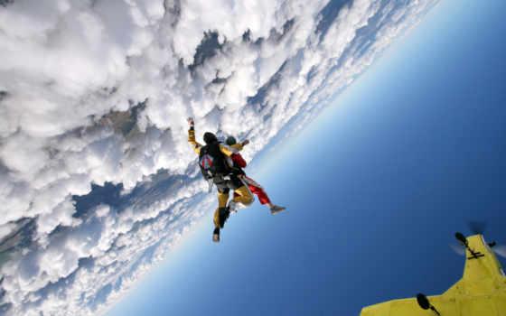 парашютом, вольтижировка, прыжок, спорт, парашютисты, парашютный,