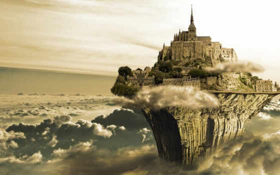 castle, остров, oblaka, небо, башня, янв, дек, высокого, rock, devils, качества,