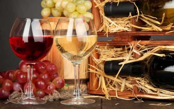 вино, красное, бокалы, белое, бутылки,