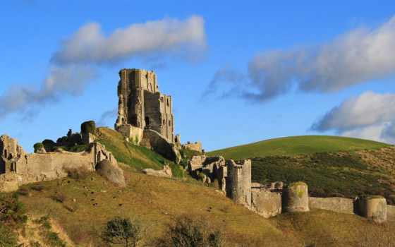 развалины, dorset, rock, castle, hill, мост, ук, landscape, craigellachie, небо,