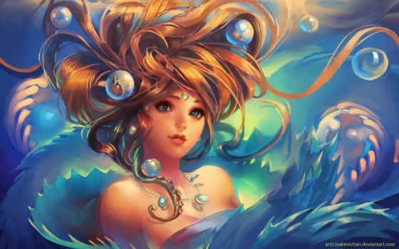 девушка, art, фантастика, фантастические, пузыри, водой, под, блог, sakimichan,
