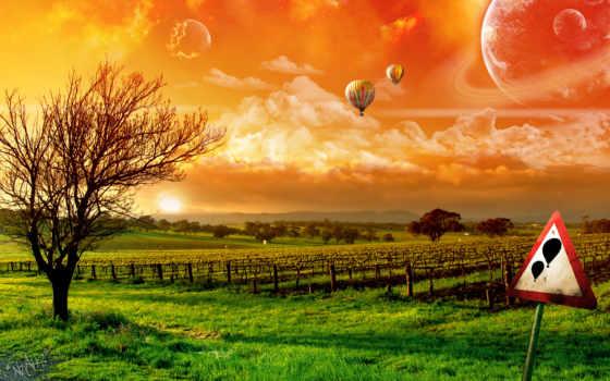небо, шары, поле, воздушные, sign, осторожно, летят, природа, rye, маки, красивое,