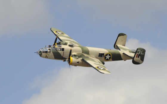 mitchell, американский, north, бомбардировщик, engine, twin, двухмоторный, военный, plane,
