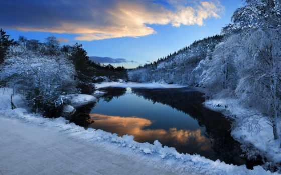 winter, природа, снег, река, trees, лес, красивые, piano, день,