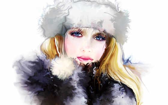 winter, девушка, взгляд, лицо, шапка, волосы, свет, ресницы, nikitina, tatiana, рисунок,