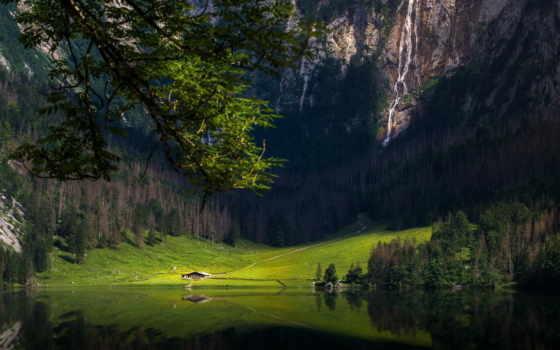 озеро, лес, гора, водопад, природа, germanii, бавария, house, изба, landscape, назад
