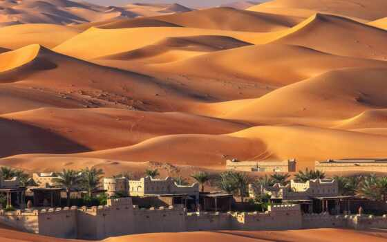 dune, пустыня, город, песок, оазис, see, town, палуба, house, дворец