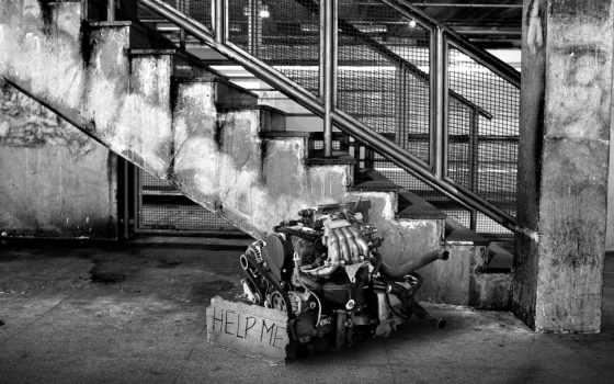 engine, чёрно, motor