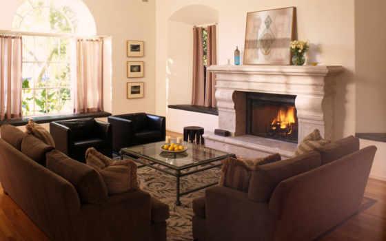 гостиной, камином, dizain, каминь, гостиная,