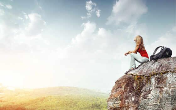 девушка, камень, путешествует
