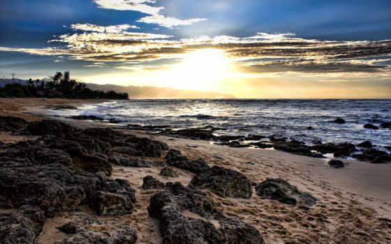 пляж, maldives, шпалери, компьютер, закат, песок, океана, бесплатные, traces, камни,