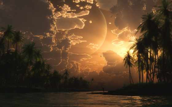 острова, пальмы, широкоформатные