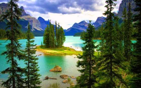 paisajes, лагос, озеро, jasper, maligne, montañas, año, lakes,