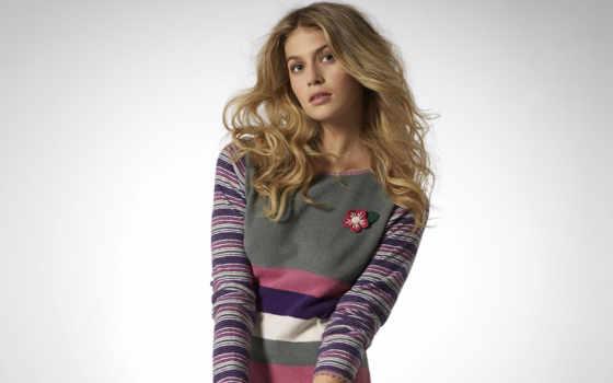 девушка, свитере, полосатом, дек, sweater, devushki,
