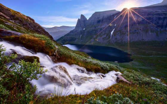 ecran, fonds, montagne, fond, lac, montagnes, soleil, eau, природа, paysage,
